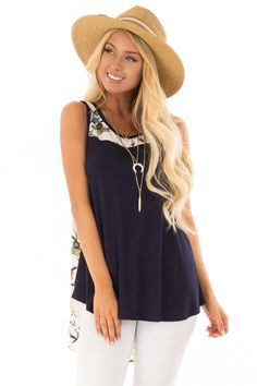 8d016f55f39ce Navy Tank Top with Ivory Floral Print Contrast front close up Boutique Tops