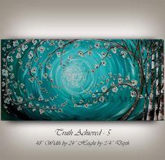 Original Huge Art ABSTRACT PAINTINGS Oil Birch Tree Art sale Floral Abstract art Turquoise Blue Flower Art Original fine art Nandita