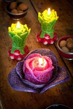 vegetable candles of radishes and red cabbage