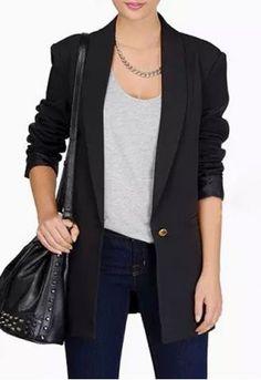 Elegant Shawl Collar Long Sleeve Solid Color One Button Design Women's Blazer Blazer | RoseGal.com Mobile