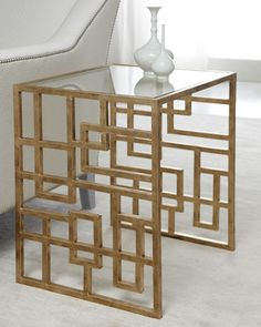 Horchow gold accent table