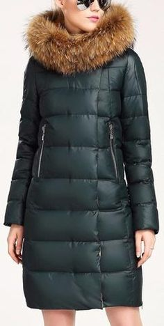 Fur Hooded Paneled Puffer Down Coat in Dark Green or Army Green