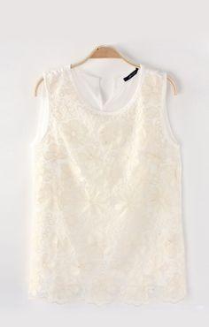 Embroidered O-neck Chiffon Vest