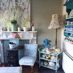 Happy Saturday all! Weather is certainly a bit brighter today, although I still think it's freezing! What's everyone up to today? #myvintagehome #teatrolley #upcycled #logburner #countryhome #cathkidston #lamp #floral #grannychic #bunting #shabbychic #shabbychichome