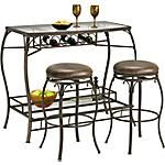 "Quaint and sophisticated, our Main Street 3-Piece Bar Set is the answer to your entertainment needs.  This set includes a 48"" x 23"" Bar Table and two upholstered Bar-Height Collin Stools.   Features wine bottle storage for convenience.  Beautiful glass shelving for a transitional flare.  View our full assortmen #AmericanSignaturePinToWin"