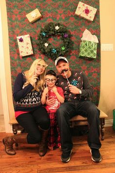 """Tacky Sweater Party""- diy photo booth, where to buy sweaters, ideas for making your own sweater, tacky headbands . Grinch Christmas Party, Christmas Photo Booth, Christmas Parties, Xmas Party, Christmas Photos, Tacky Christmas Sweater, Ugly Xmas Sweater, Diy Photo Booth, Photo Booths"