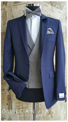 8fee6282f8d1 Navy grooms suit with grey waistcoat and tie! would be perfect as a tail  coat