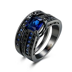 * Penny Deals * - 2PCS Black Plated Blue CZ Pave Cut Promise Womens Wedding Ring Matching Set >>> Details can be found by clicking on the image.
