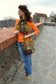 FeltroModa / Plstená kabelka-Šípky plus šálik