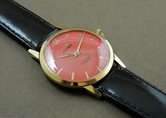 Vintage HMT Sona Hand Wind 17J India Mechanical Watch Orange Dial GoldPlate Case #HMT #Casual