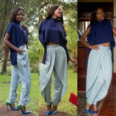 SS15 | OTHA PURE - Ink Hi-Lo Crop Top & Sky Blue Manica Petal Trousers #HausOfStone #Urban #Vintage #African #HiLoCrop