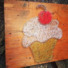 Cute as a Cupcake Custom string art cute cupcake by TautlyTangled, $40.00