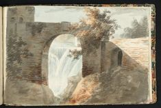 Joseph Mallord William Turner A Waterfall Seen through an Arched Opening in a Wall, Perhaps Copied from a Drawing by John 'Warwick' Smith From Oxford Sketchbook Turner Bequest II circa 1789 Watercolour on paper Joseph Mallord William Turner, Tate Gallery, Artist Sketchbook, Art Corner, English Artists, Texture Art, Les Oeuvres, Covent Garden, Waterfall