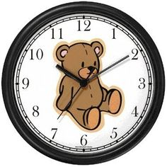 Amazon.com - Plain Teddy - Bear Animal Wall Clock by WatchBuddy Timepieces (Black Frame) - this would be so cute to match the chocolate teddy bear theme!