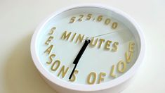 RENT Wall Clock DIY RENT Wall Clock DIY… Posted by Theatre Nerds on Saturday, January 13, 2018 Supply list: Small Clock-available at target for $4 or your local thrift store White acrylic paint Alphabet stickers-1 inch (any color you'd like! We used gold) Instructions: Welcome back to another Theatre Nerds DIY. In this tutorial we … More