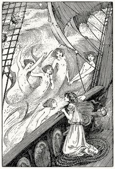 Then she saw her sisters rising out of the flood.    Helen Stratton, from The fairy tales of Hans Christian Andersen, Philadelphia, circa 1899.