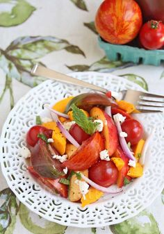 Juicy Summer Heirloom Tomato Fruit Salad Recipe - Jeanette's Healthy Living #SummerFest