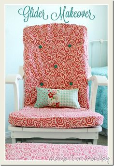 Glider Rocking Chair Makeover--recovered cushions with piping