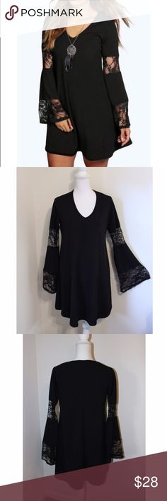 """""""Plus"""" Lace Panel Bell Sleeve Dress I adore this dress for so many reasons. (As do my customers who've purchased it). 🖤 It is of high quality and well-made; it is trendy- with it's lace and bell-sleeves; it is not only stretchy and comfy, but it looks fab; and the main reason I love it is because of the way it fits. It has a fitted and flare cut that is flattering on everyone, especially """"Plus"""" size girls like myself. Fabric- 95% and 5% Elastane. The dress is by Boohoo and is brand new with…"""