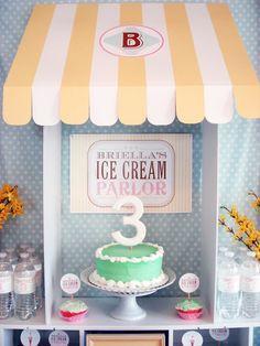 Ice Cream Parlor Birthday Party - My Lady Dye 3rd Birthday Party For Girls, Summer Birthday, Birthday Bash, Birthday Celebration, Birthday Party Themes, Mint Cake, Ice Cream Parlor, First Birthdays, Party Ideas