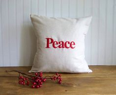 PEACE embroidered Christmas pillow cover - red - linen - customizable on Etsy, $19.99