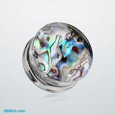 Abalone Inlay Double Flared Ear Gauge Plug