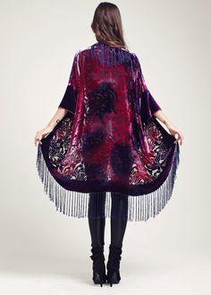 Veste Kimono en velours rose - Velvet Dream