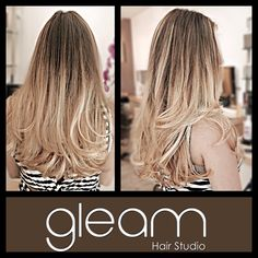 Blonde Balayage Ombre and long Layers on Jessica  at Gleam Hair  Studio Miami.