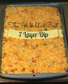 Another pinner says:  Really really good bean dip! I followed this recipe, except for instead of using tomatoes and green onions, I used a layer of blended salsa. The taco seasoning made it so delicious - it was a party hit!