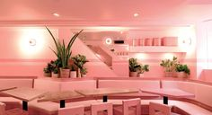 From the walls, to the plates and bar stools, everything inside NoLIta Restaurant is bubblegum pink. Located in New York, designed by Jeanette Dalrot. New York Restaurants, Pink Restaurant, Restaurant Photos, Millenial Pink, Pink Bar, Restaurant Interior Design, Bar Interior, Pink Houses, Bright Pink