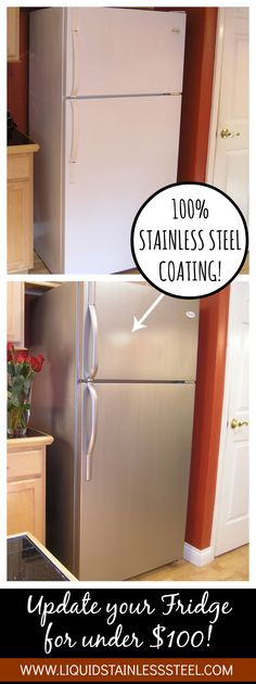 Before you rush out to replace a well-working fridge just for the aesthetic value of stainless, try a little Liquid Stainless Steel paint!  www.liquidstainlesssteel.com