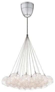 """Possini Euro Wired 23 1/2"""" Wide Glass and Chrome Pendant - contemporary - pendant lighting - Euro Style Lighting"""