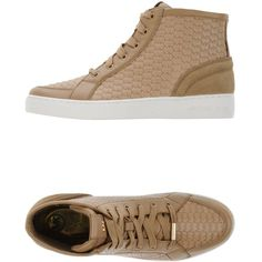 Michael Michael Kors Sneakers (670 BRL) ❤ liked on Polyvore featuring shoes, sneakers, sand, flat shoes, leather trainers, round toe shoes, flat sneakers and rubber sole shoes