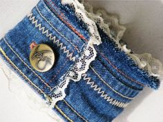 Upcycled Denim Cuff Bracelet made from by NovelDesignsByBeka: