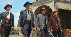 Kirk Douglas, Burt Lancaster, John Hudson, DeForest Kelley in Gunfight at the OK Corral.