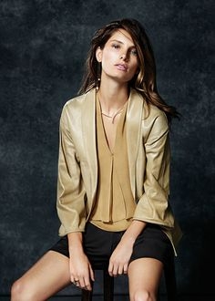#GiorgioArmani SS15 silk shorts, leather jacket and silk top