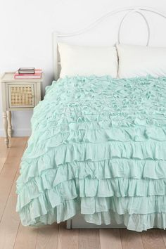Waterfall Ruffle Duvet Cover  #UrbanOutfitters. Perfect color...maybe a few shades darker for the spare bedroom-guest bedroom