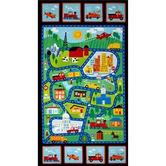 Timeless Treasures Street Map 24 In. Panel Multi from @fabricdotcom  Designed for Timeless Treasures, this cotton print panel is perfect for quilting, apparel and home decor accents. Colors include blue, black, white, orange, yellow, red, and green. Panel measures approximately 24'' x 44''