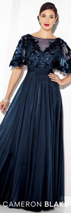 Formal Evening Gowns by Mon Cheri - Spring 2017 - Style No. 117622 - navy blue chiffon evening dress with sequin lace bodice and illusion flutter sleeves