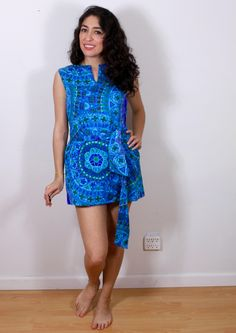 1960s Ultra Mini Blue Hypnotic Dress by VintageRevival818 on Etsy