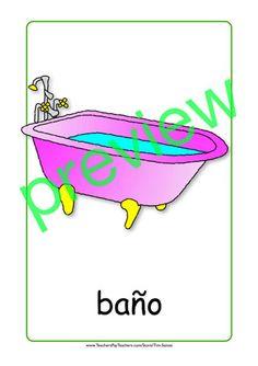 Furniture flash cards - pink bath