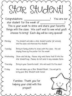 Image result for student of the week letter to parents