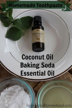 Homemade toothpaste with organic virgin coconut oil, baking soda (aluminium free) and essential oil (peppermint recommended)