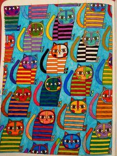 """""""Meowving colours"""" #artbygnoom #gnoomsweetgnoom #colouring #kleurenvoorvolwassenen #cats #theposhcolouringbook #Florachang"""