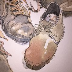 (detail) Shoes mostly. Perhaps a bit autobiographical as well. #sketchbook #pen by johncuneo3