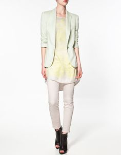 Colored blazer.  This soft mint is to die for, and it also comes in a lemony yellow, soft pink, and strawberry pink.
