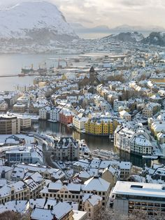 Alesund, Norway was burnt down, and rebuilt - like the town of Dale in the Hobbit
