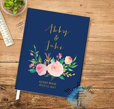 Wedding Guest Book Gold and Navy Guest Book Wedding Gift