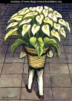 Diego Rivera - Man Loaded with Lilies 1950 Diego Rivera Art, Diego Rivera Frida Kahlo, Frida And Diego, Spanish Painters, Spanish Artists, Mexican Artists, Mexican Folk Art, Latino Art, Frida Art