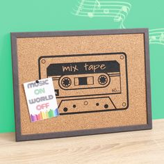 Cork Board, Memoboard, Cassette Print, Mixtape Print, Pinboard with Print Gift For Music Lover, Music Lovers, Musician Gifts, Practical Gifts, Desk Organization, Mixtape, Wooden Frames, Cork, Social Media
